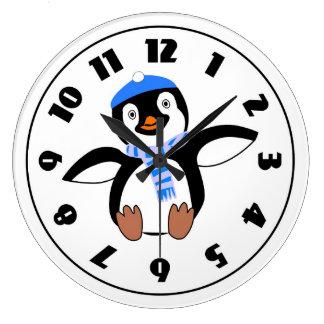 Penguin Wearing A Scarf Clock