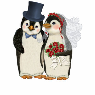 Penguin Wedding Standing Photo Sculpture