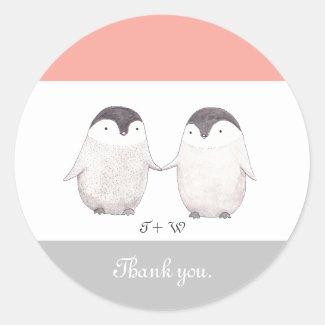 Penguin Wedding Sticker Cute Penguin Custom Favor
