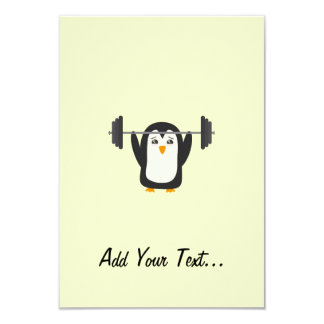 """Penguin Weightlifting 3.5"""" X 5"""" Invitation Card"""