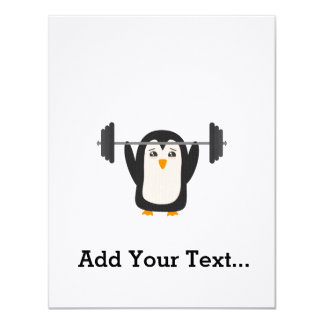 """Penguin Weightlifting 4.25"""" X 5.5"""" Invitation Card"""