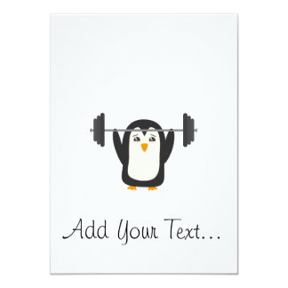 """Penguin Weightlifting 4.5"""" X 6.25"""" Invitation Card"""