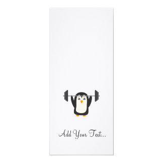 """Penguin Weightlifting 4"""" X 9.25"""" Invitation Card"""