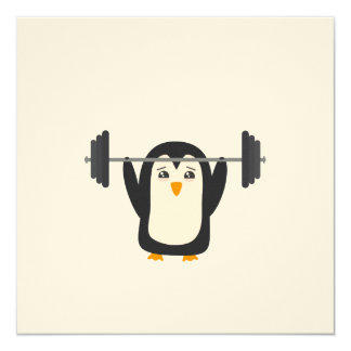 """Penguin Weightlifting 5.25"""" Square Invitation Card"""