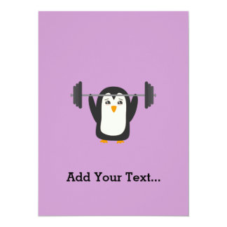 """Penguin Weightlifting 5.5"""" X 7.5"""" Invitation Card"""