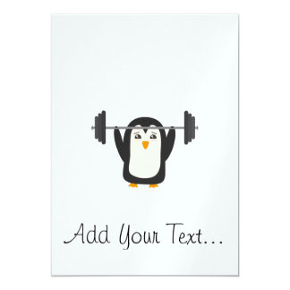 """Penguin Weightlifting 5"""" X 7"""" Invitation Card"""