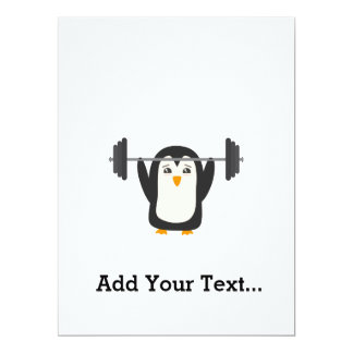 """Penguin Weightlifting 6.5"""" X 8.75"""" Invitation Card"""