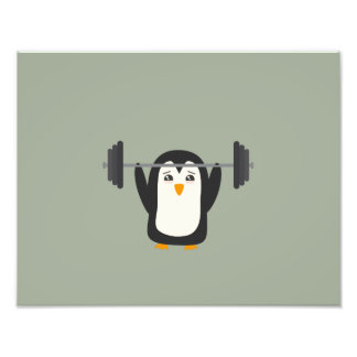 Penguin Weightlifting Art Photo