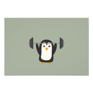 Penguin Weightlifting Photo Art