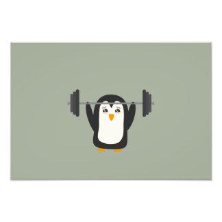 Penguin Weightlifting Photo Art