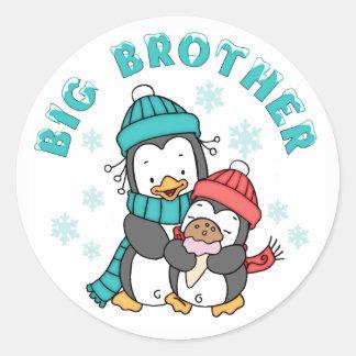 Penguin Winter Big Brother Round Sticker