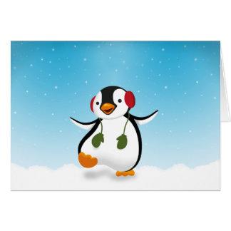 Penguin Winter Illustration - Greeting Card