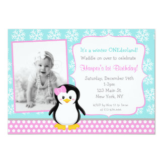 Penguin Winter ONEderland Birthday Invitations
