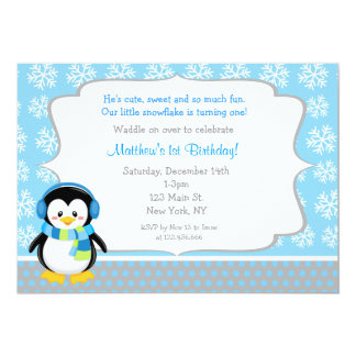 Penguin Winter Snowflake Birthday Invitations