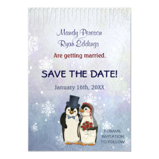 Penguin Winter Snowflakes Wedding Save The Date Magnetic Invitations