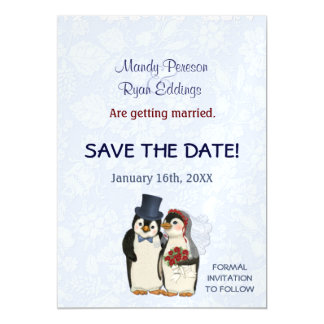 Penguin Winter Wedding Magnetic Save The Date Magnetic Invitations