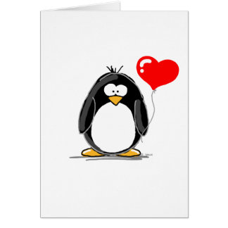 Penguin with a heart balloon greeting cards