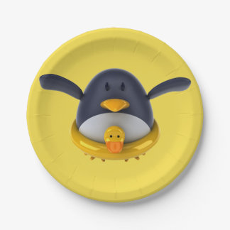 Penguin With A Rubber Duck Paper Plates