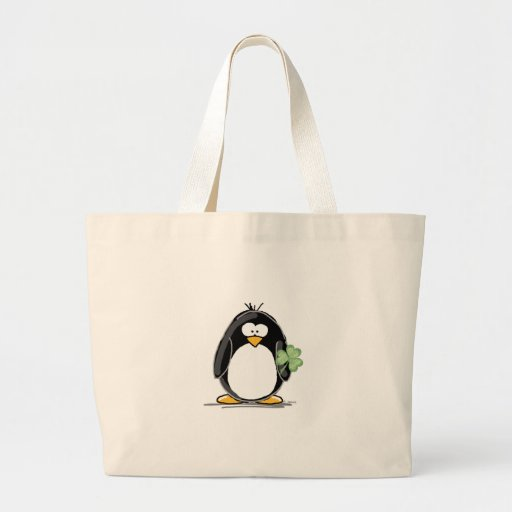 Penguin with a Shamrock Canvas Bag