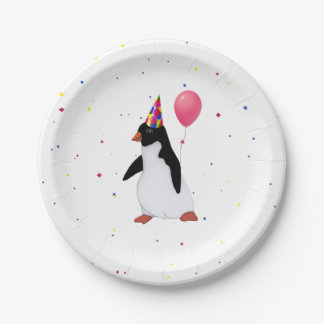 Penguin With Balloon Birthday Party Paper Plates