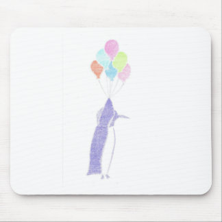 Penguin With Balloons Mouse Pad
