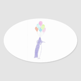 Penguin With Balloons Oval Sticker