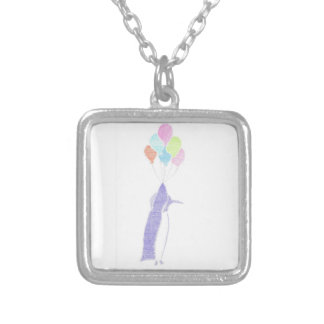 Penguin With Balloons Silver Plated Necklace