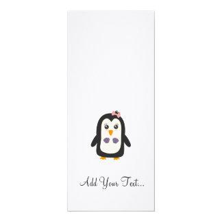 "Penguin with bikini 4"" x 9.25"" invitation card"