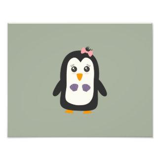 Penguin with bikini photo print