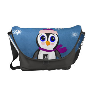 Penguin with  Hat Courier Bags