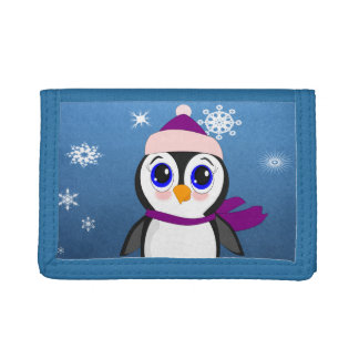 Penguin with  Hat Trifold Wallets