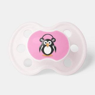 Penguin with headphones pacifier
