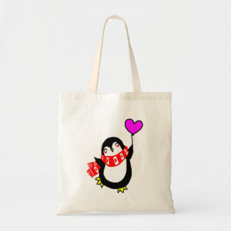 Penguin with Heart Balloon Tote Bag