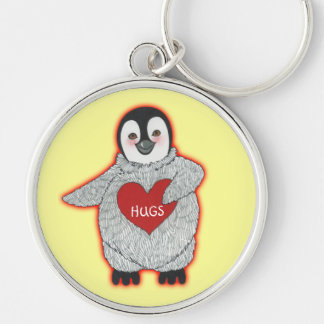 Penguin with Heart Hugs Keychain