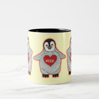 "Penguin with Hearts ""I Need Hugs"" Two-Tone Coffee Mug"