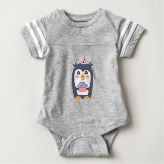 Penguin With Party Attributes Girly Stylized Funky Baby Bodysuit