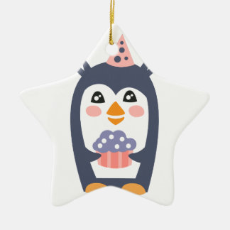 Penguin With Party Attributes Girly Stylized Funky Ceramic Ornament