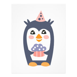 Penguin With Party Attributes Girly Stylized Funky Letterhead