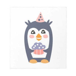 Penguin With Party Attributes Girly Stylized Funky Notepad
