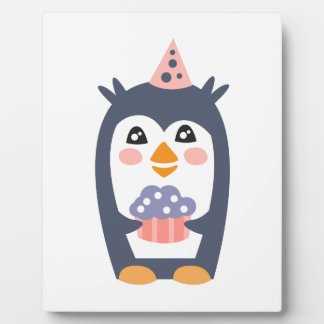 Penguin With Party Attributes Girly Stylized Funky Plaque