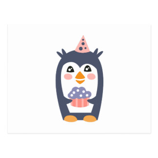 Penguin With Party Attributes Girly Stylized Funky Postcard