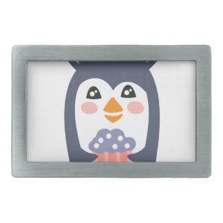Penguin With Party Attributes Girly Stylized Funky Rectangular Belt Buckles