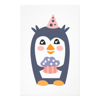 Penguin With Party Attributes Girly Stylized Funky Stationery