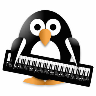 Penguin with piano keyboard standing photo sculpture