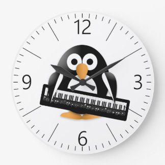 Penguin with piano large clock
