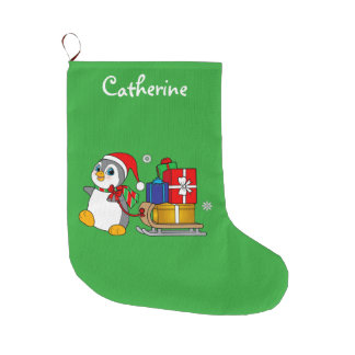 Penguin with Sled of Presents Large Christmas Stocking
