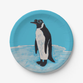 Penguin with Sunglasses on Ice funny birthday Paper Plate