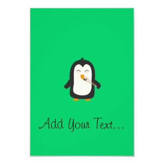 "Penguin with sushi 3.5"" x 5"" invitation card"