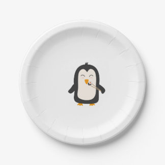 Penguin with sushi 7 inch paper plate