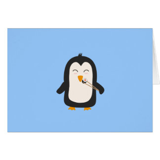Penguin with sushi note card